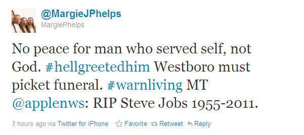 Tweet from a member of the Westboro Church, stating they will picket Jobs funeral... sent from an iphone.